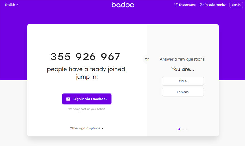 Badoo App Homepage